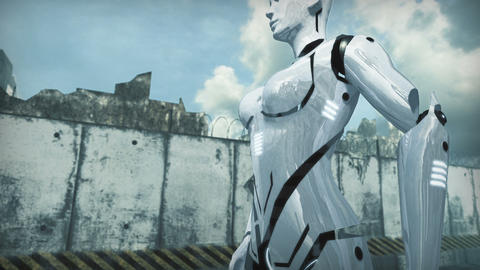 Animation of a robot woman and dog in apocalyptic city. 3D rendering Animation