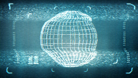 Animated distorted monitor screen with globe in sci fi style. Loop-able. 3d Animation