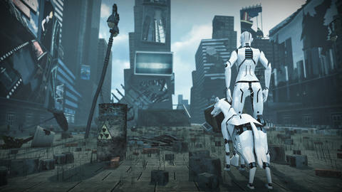 Animation of an artificial woman and dog in ruined sci fi city. 3D rendering Animation