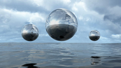 Animated abstract liquid transparent sphere above water loop able. 3D rendering Animation