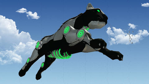Animated puzzle pieces with sci fi panther. 3D rendering 4K Animation
