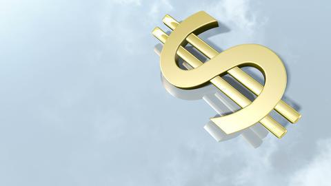 Shiny dollar money sign. 3d rendering 4K Animation