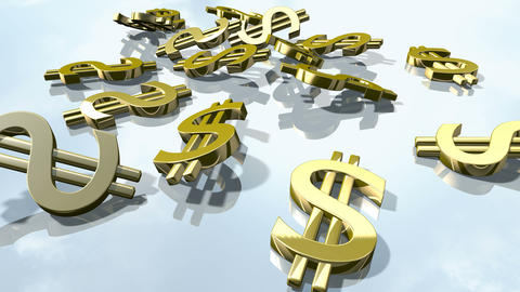 Shiny gold dollar money signs. 3d rendering Animation