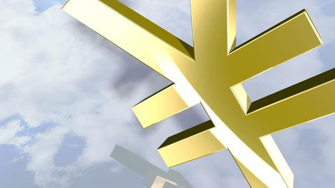 Animated shiny yen money sign. 3D rendering 4K Animation