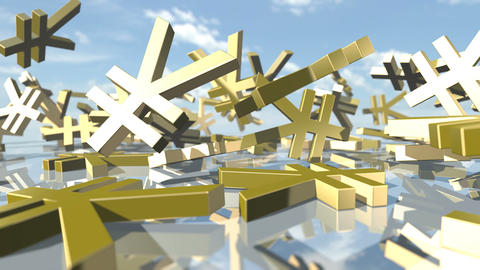 Animated shiny yen money signs falling down. 3D rendering 4K Animation