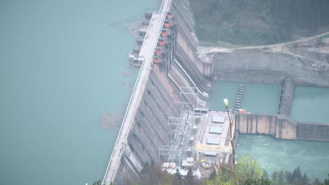 Lake with electric dam. Shot from the heights Footage
