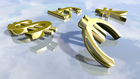 Animated shiny leading money signs. 3D rendering 4K Animation