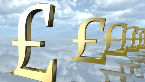 Animated golden pound money signs in a row. 3D rendering 4K Animation