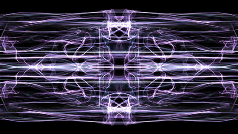 Abstract purple fractal patterns on black background. Glowing ornament in tunnel Animation