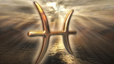 Animated mystic golden zodiac horoscope Pisces symbol. 3D rendering 4K Animation