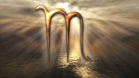 Animated mystic golden zodiac horoscope Scorpio symbol. 3D rendering 4K Animation