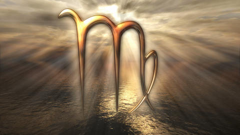 Animated mystic golden zodiac horoscope Virgo symbol. 3D rendering 4K Animation