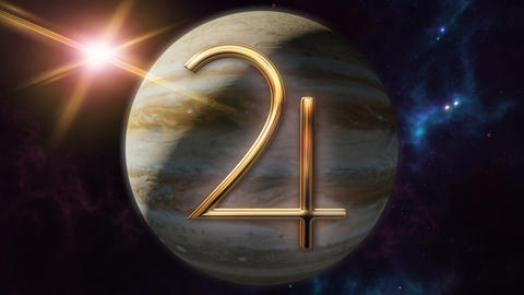 Animated jupiter zodiac horoscope symbol and planet. 3D rendering 4K Animation