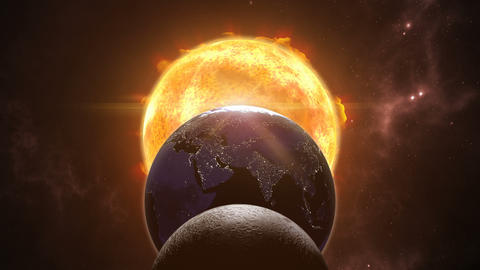 Animated sun, moon and earth globes. Eclips in cosmic scene. 3D rendering 4K Animation