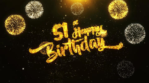 51st Happy Birthday Text Greeting, Wishes, Celebration, invitation Background Footage