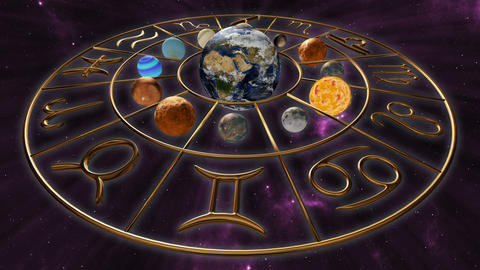 Rotating mystic golden zodiac horoscope symbol with twelve planets in cosmic Animation
