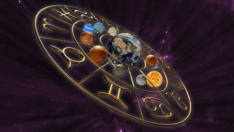 Rotating mystic astrology zodiac horoscope symbol with twelve planets in cosmic Animation
