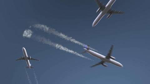 Flying airplanes reveal Cali caption. Traveling to Colombia conceptual intro Footage