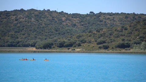 Family On Kayaks In Lake 영상물