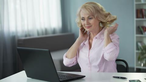 Flirty woman pranking and registering on dating website to find new boyfriend Live Action