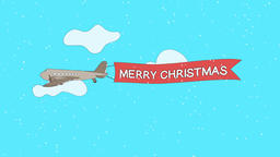 "Airplane is passing through the clouds with ""Merry Christmas"" banner - Seamless GIF"