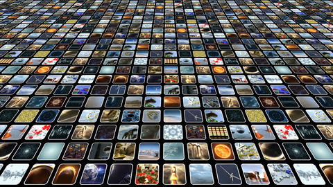 Animated video wall with many small icons on monitors. Loop-able. 3D rendering. Animation