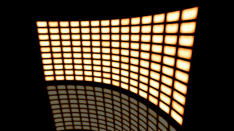 Animated distorted curved video wall vintage sepia turned to right. Loop-able Animation
