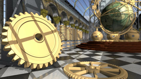 Animated mechanical devices in victorian interior. 3D rendering. 4K Animation