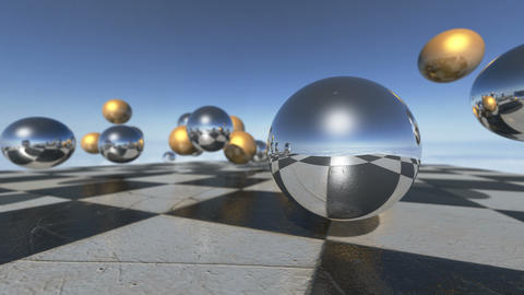 Animated surreal oprganic spheres falling down on a checkerboard. 3D rendering Animation