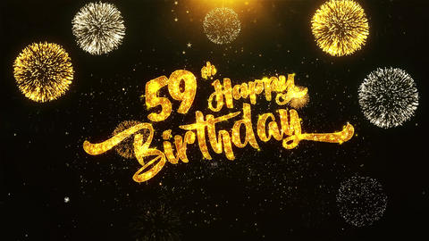 59th Happy Birthday Text Greeting, Wishes, Celebration, invitation Background Footage