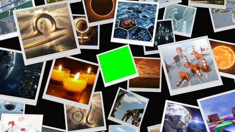 Animated photo image sheets with green screen. 3D rendering. 4K Animation