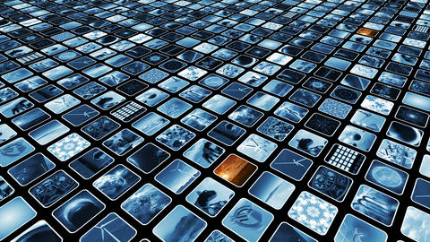 Animated video wall with many media icons blue and sepia loop-able, diagonally. Animation