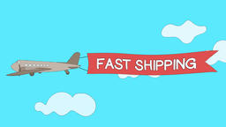 "Airplane is passing through the clouds with ""Fast Shipping"" banner - Seamless Animation"