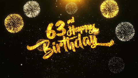63rd Happy Birthday Text Greeting, Wishes, Celebration, invitation Background Footage