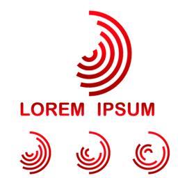 Red telecommunication symbol template icon set ベクター