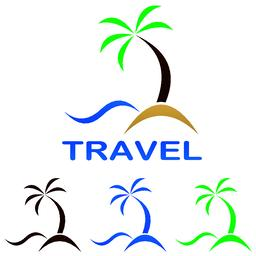 Travel logo design - beach, palm tree, sea Vector