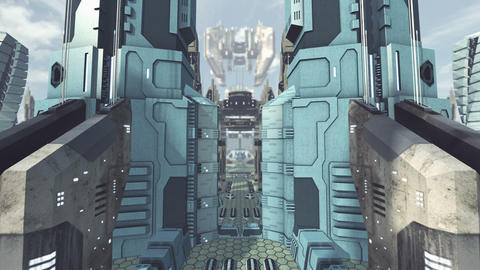 Take off from an animated futuristic scifi city. 4K Animation