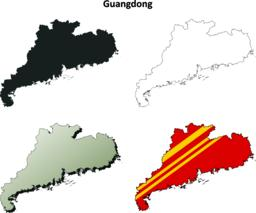 Guangdong blank outline map set Vector