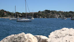 France Cote d'Azur Villefranche sur Mer sailing boats at anchor in the bay Footage