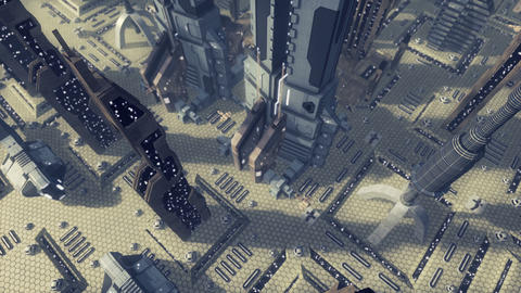 Fly over an animated futuristic scifi city. 4K Animation