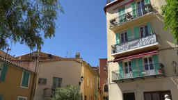 France Cote d'Azur Villefranche sur Mer colorful multiple family dwelling ビデオ