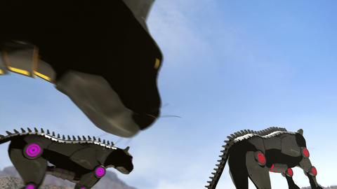 Mechanic black cats - 24 fps Animation