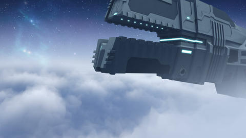 Futuristic cargo spaceship flying - 24 fps Animation