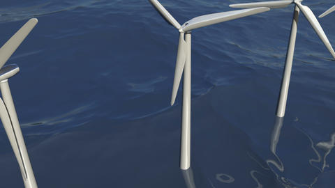 Animated wind turbines in an ocean windfarm Animación