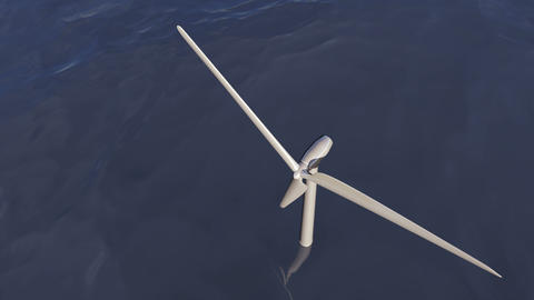 Animated wind turbine in an ocean Animación