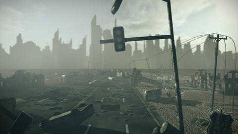 Apocalyptic city with highway Animation