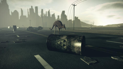 Apocalyptic city with jumping kangaroo Animation