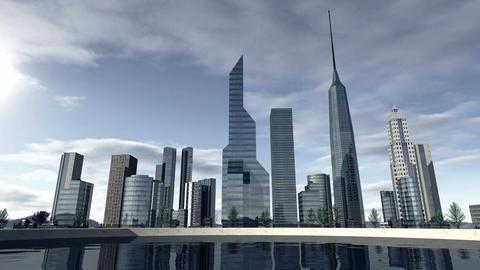 Animated skyline of a modern city 4K Animation