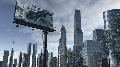 Animated skyline of a futuristic city 4K Animation