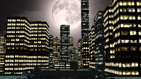 Full moon and city by night with green screen Animation